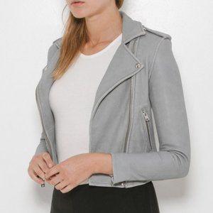 IRO Ashville Leather Jacket  Light Grey 36